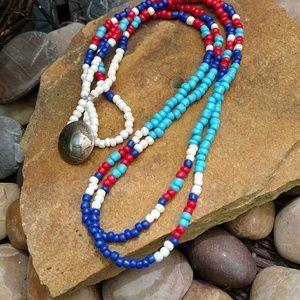 Native style patriotic wrap bracelet
